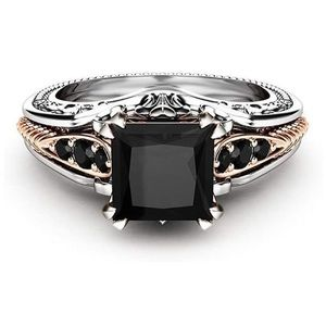 Princess Cut Black Gemstone Tri-Colored Ring
